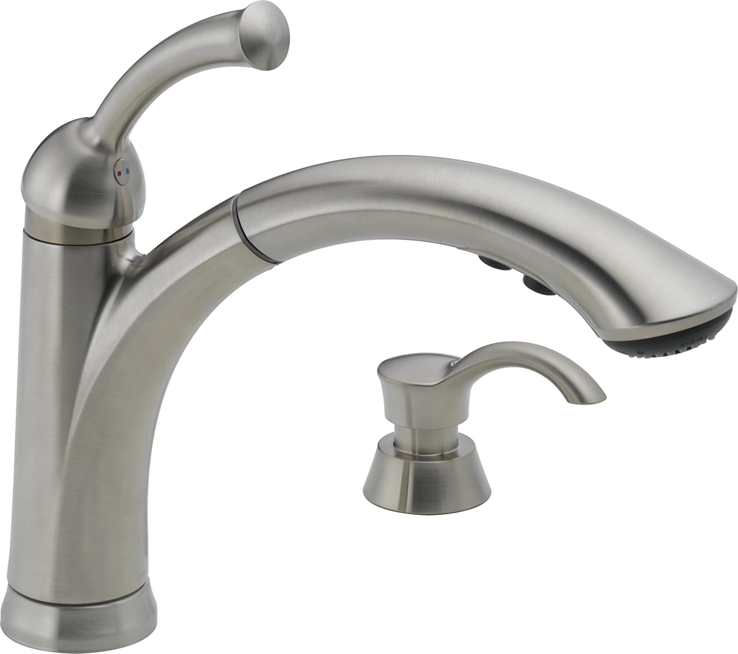 Delta 16926-SSSD-DST Lewiston Single Handle Pull-Out Kitchen Faucet with Soap Dispenser, Stainless