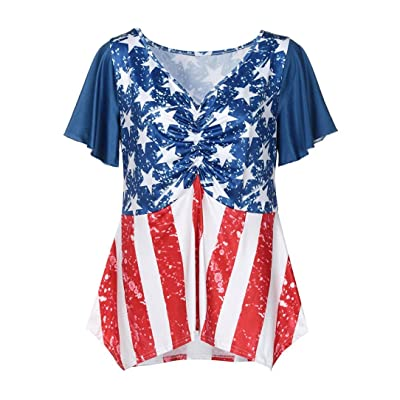af7a898cd2e Alluing Sex and Comfortable Women Plus Size Patriotic American Flag Printed  Ruched Short Sleeved Blouse Tops