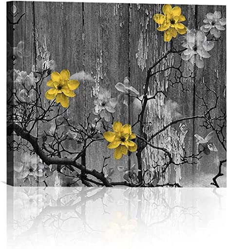 Amazon Com Yellow Grey Rustic Modern Floral Home Decor Bathroom Wall Art Canvas Artwork Picture For Living Room Bedroom 16x20 Inches Posters Prints
