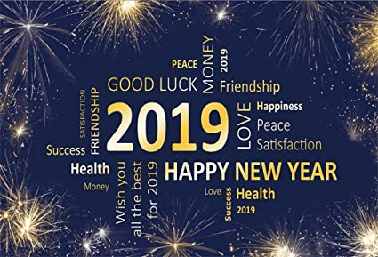 aofoto 6x4ft 2019 happy new year word cloud backdrop good luck firework celebration photography background christmas