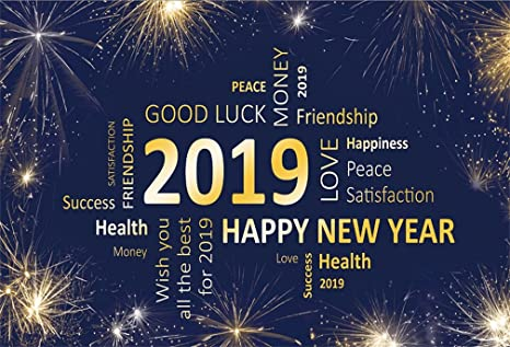 aofoto 10x7ft 2019 happy new year word cloud backdrop good luck firework celebration photography background christmas