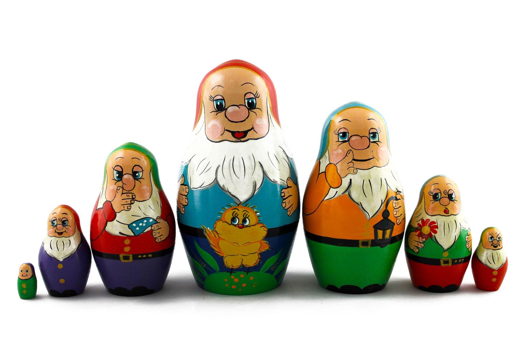 Matryoshka Russian Nesting Doll Babushka Beautiful Dwarf Seven Dwarfs Set 7 Pieces Pcs Hand Painted Handmade Souvenir Gift Handicraft by MATRYOSHKA&HANDICRAFT (Image #6)