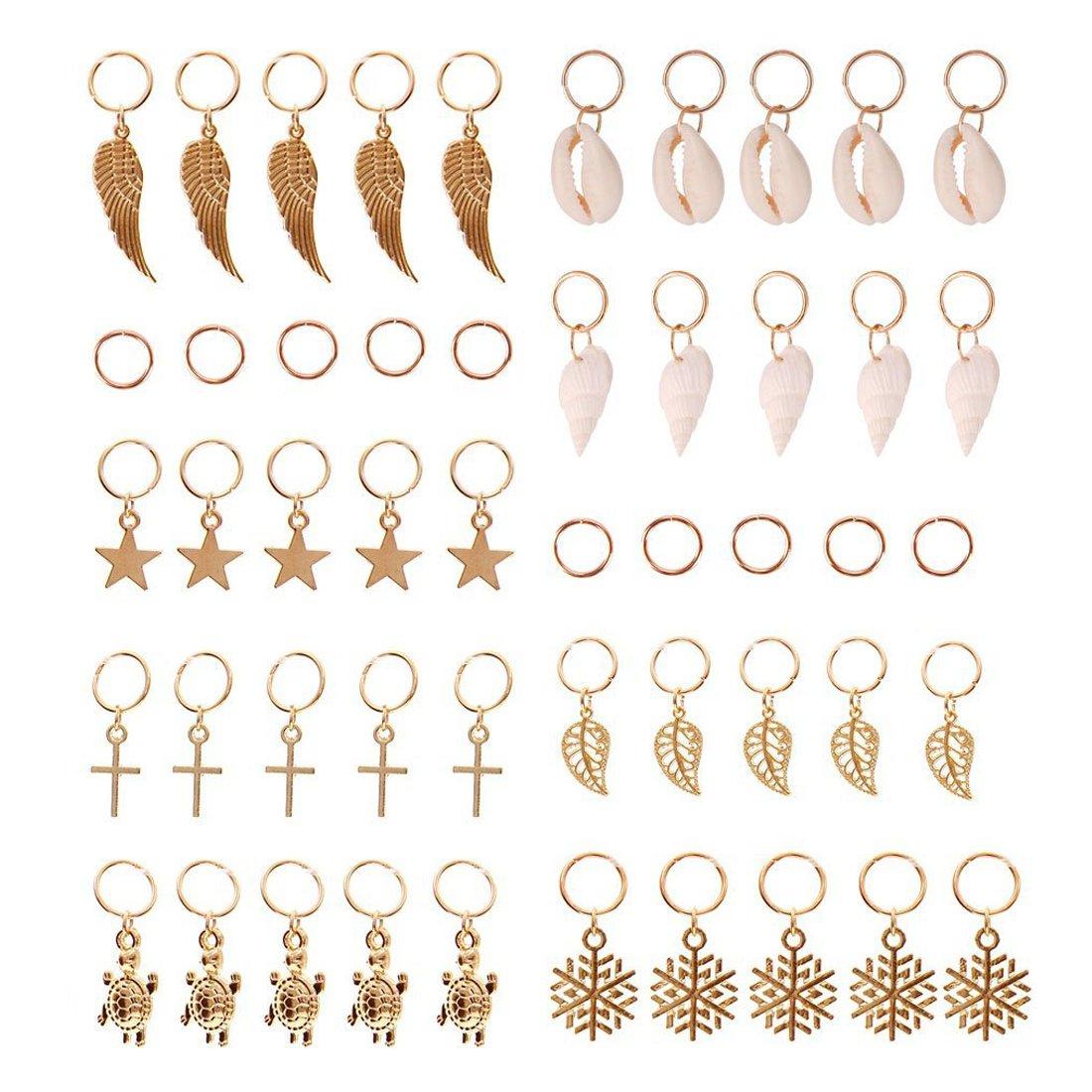 JIALEEY Hair Braid Rings, 50PCS Hair Loops Clips Gold Ring Shell Leaves Star Conch Snowflake Pendant Charms Set Hair Clip Headband Accessories