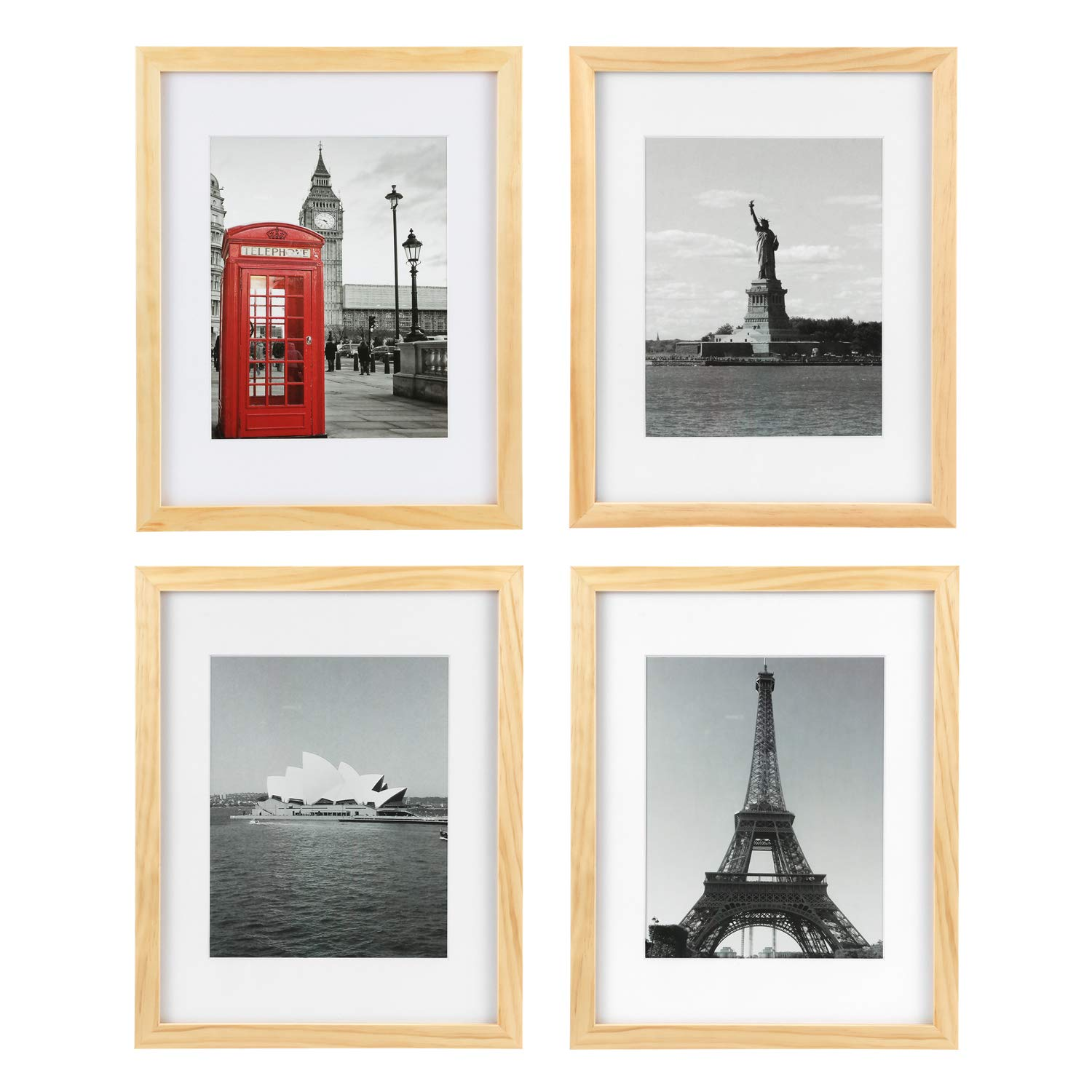 ONE WALL Tempered Glass 11x14 Picture Frame Solid Wooden Frame Set of 4 with Mats for 8x10 Photo, Natural Wood Color Frames for Wall Mounting or Tabletop - Mounting Hardware Included by ONE WALL