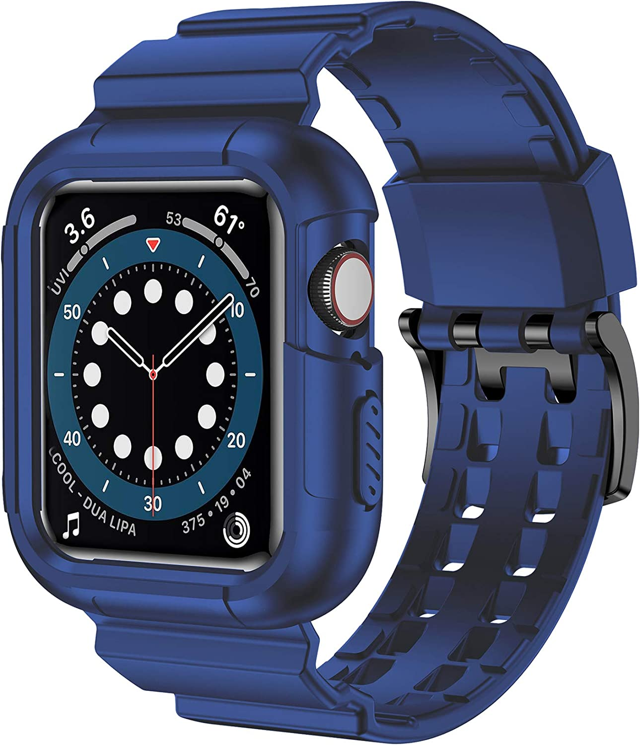 iiteeology Compatible with Apple Watch Band 44mm 42mm Case, Rugged Protective iWatch Case with Sport Bands for Apple Watch SE Series 6/5/4/3/2/1, Blue