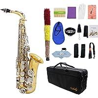 ammoon LADE Saxofón Alto Saxófono Latón Brillante Grabado Eb E-Flat Botón de Shell Blanco Natural Instrumento de Viento…