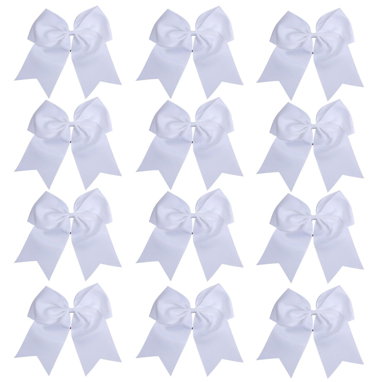 "ICObuty 12 Pcs 8"" Jumbo Cheer Bows Ponytail Holder Cheerleading Bows Hair Tie for Teens Girl (White)"