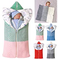 Baby Swaddle Blanket Stroller Wrap,Soft Thick Fleece Warm Blanket Newborn Sleeping Bag for 0-12 Month Boys Girls…