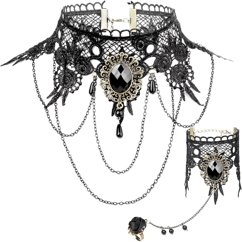 Joeyer Collar de Encaje Gótico Bracelet Accesorios, Gothic Lolita Retro Black Lace Vampire Collar Bracelet del Cordón Cadena para el Cumpleaños de Boda Hallowen Navidad Custume: Amazon.es: Joyería