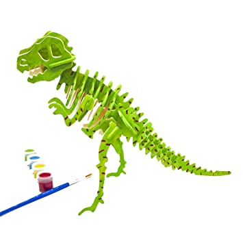 Miscy 3d Puzzle Arts Projects Craft Wood 3d Puzzles For Kids Ages 6 8 Up Assemble Paint Diy Animal Crafts T Rex Dinosaurs