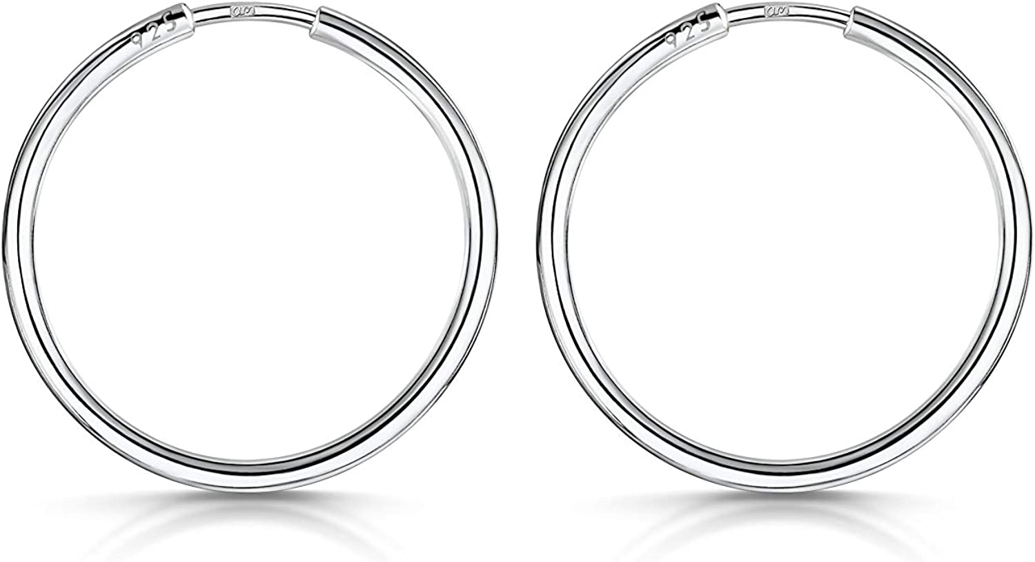 Amberta 925 Sterling Silver Fine Circle Endless Hoops - Polished Round Sleeper Earrings Diameter Size: 20 30 40 60 80 mm