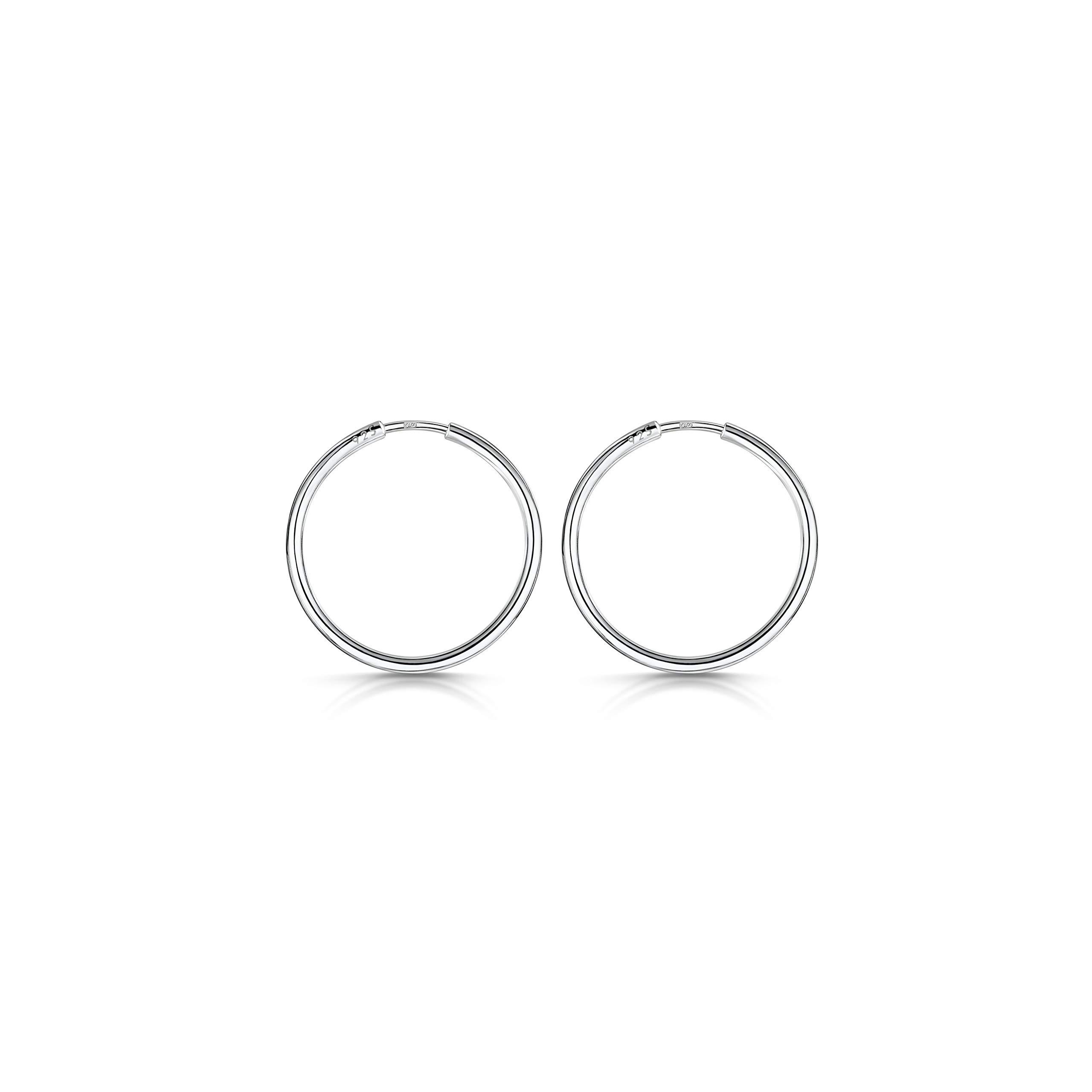 ENDLESS HOOP ROUND .925 Sterling Silver EARRINGS 1.2mm Thick 65mm Diameter