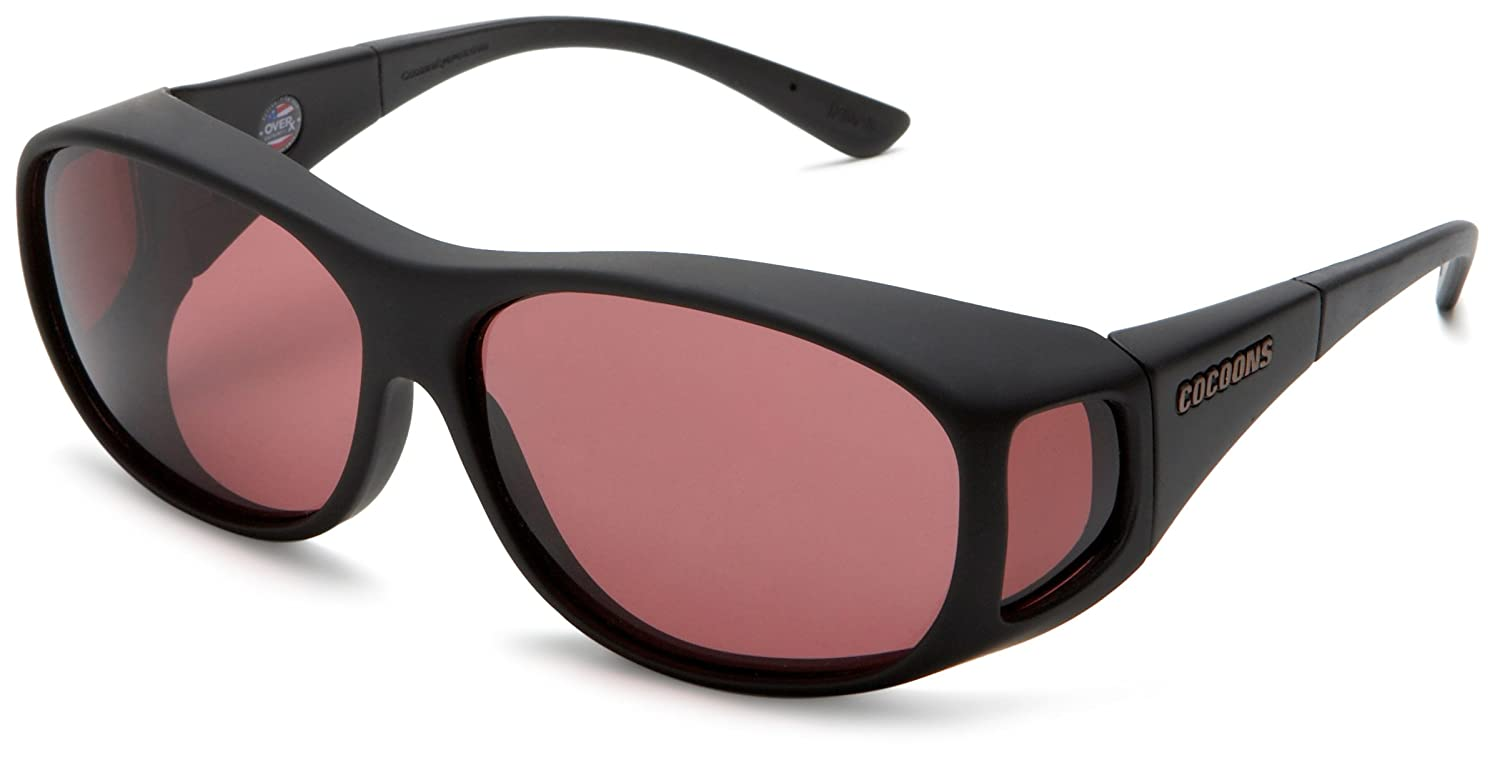 Cocoons Fitovers Low-Vision Sunglasses Slim Line (MED) Black Frame/Clear Lens One Size C402N
