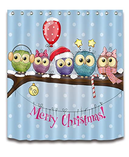 Cute Christmas Owls Shower Curtain Liner Waterproof Fabric Bathroom Set Hooks