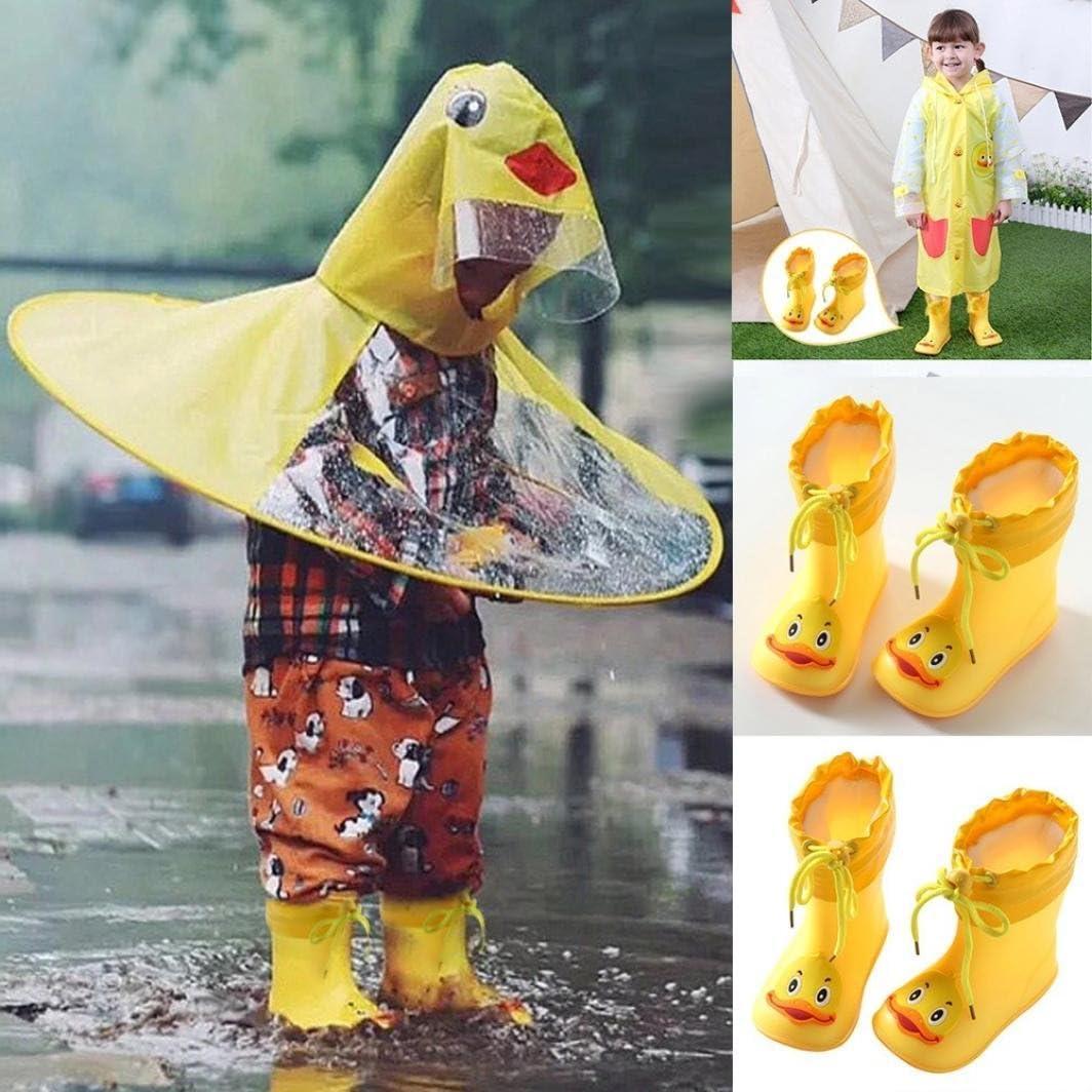 Vinjeely Toddler Unisex Kids Cartoon Yellow Duck Rubber Waterproof Warm Boots Rain Shoes