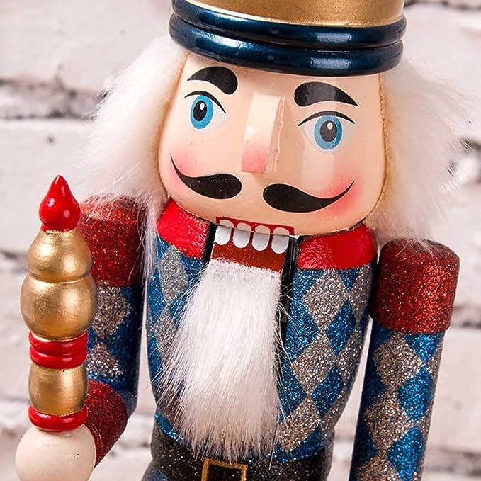 cascanueces decoraci/ón de vacaciones GerFogoo Marioneta Cascanueces de madera de nogal de madera cl/ásica figura de Pap/á Noel para el hogar festivo dorado decoraci/ón de /árbol de Navidad