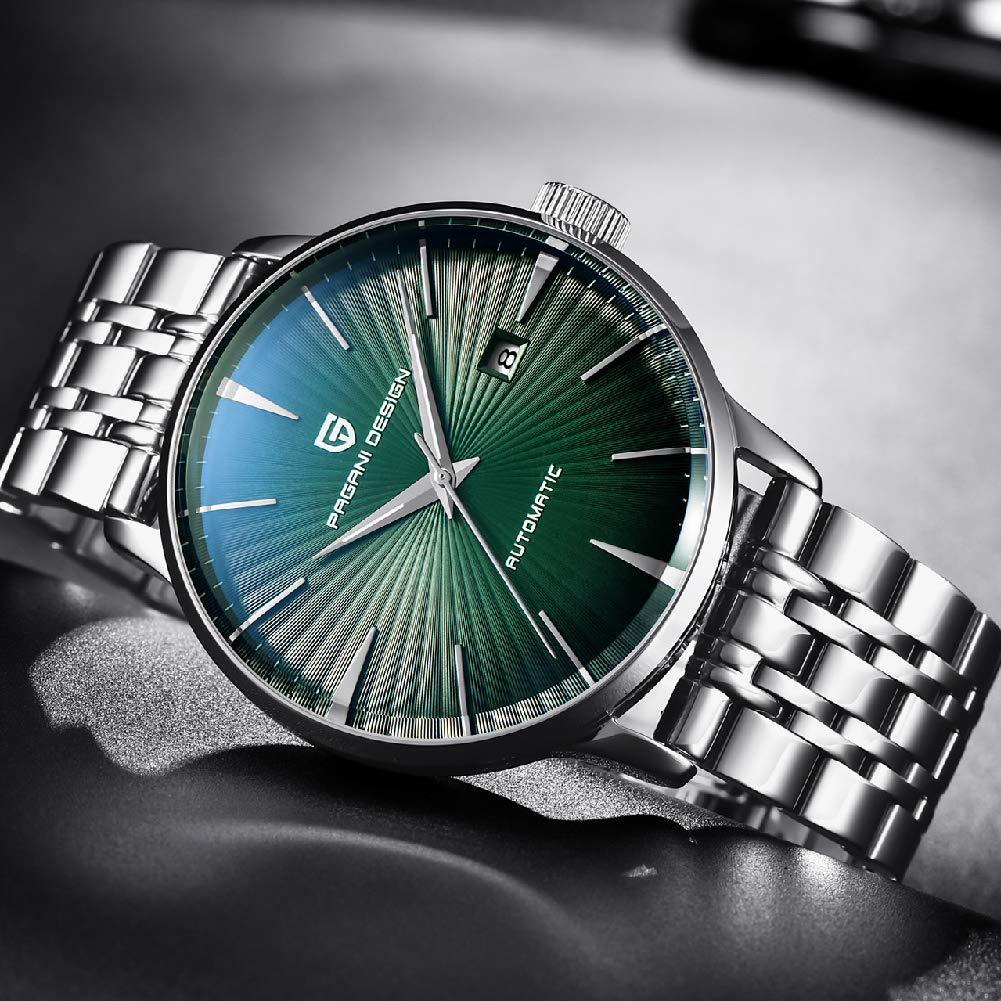 Cqing Wish herr mekaniska klockor, business high-end-klockor, vattentät och multifunktionell, enkel urtavla mode ledig sport stålbälte, grön GRÖN
