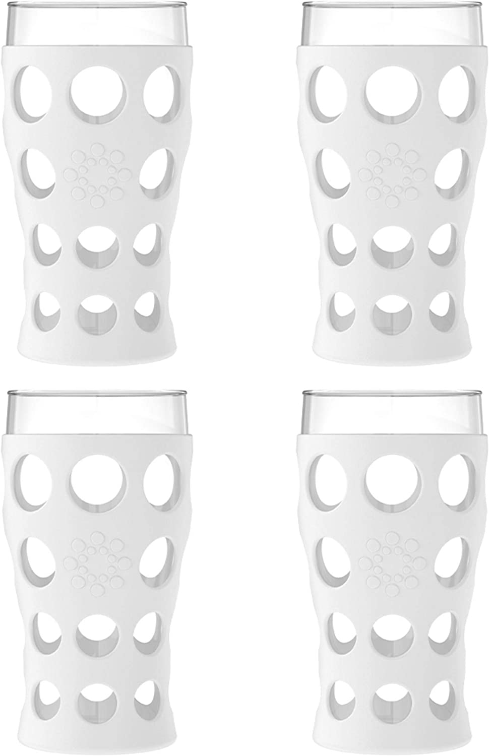 Lifefactory 20-Ounce BPA-Free Indoor/Outdoor Protective Silicone Sleeve Beverage Glass, 4-Pack, Optic White