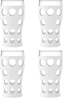 product image for Lifefactory 20-Ounce BPA-Free Indoor/Outdoor Protective Silicone Sleeve Beverage Glass, 4-Pack, Optic White