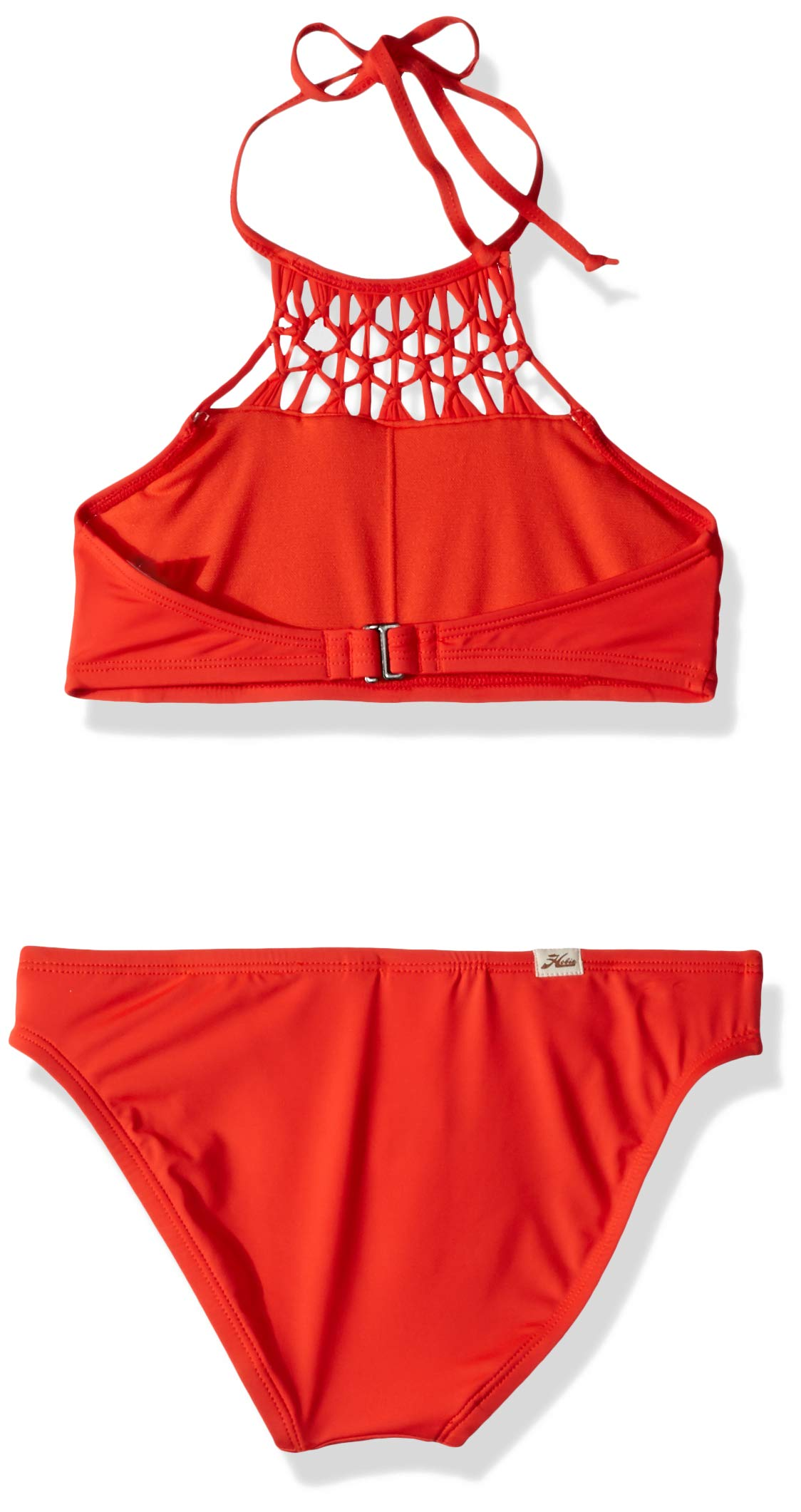 Hobie Big Girls' High Neck Bikini Top and Hipster Bottom Swimsuit Set, Watermelon//Solids, 12 by Hobie (Image #2)