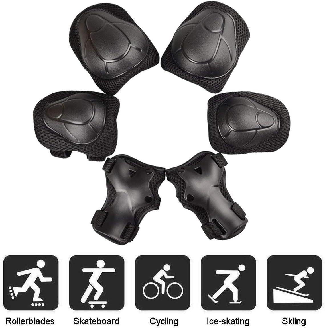ZARRS Enfant Set de 6 Protections,Ensemble de Protection Enfants Genouill/ères,Coudi/ères,Prot/ège-Poignets pour Skateboard Roller Cyclisme Bicyclette