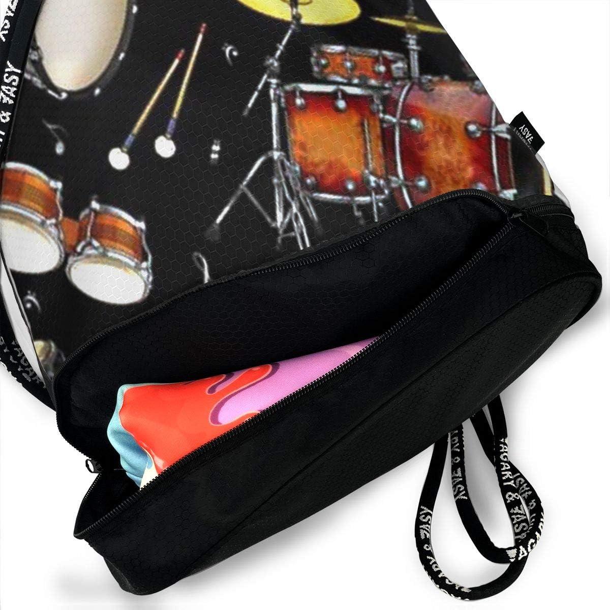 Fashion Outdoor Zipper Drawstring Bag Rock Drum Printed Bundle Backpack for Men Women Unisex Multi-Function Backpack