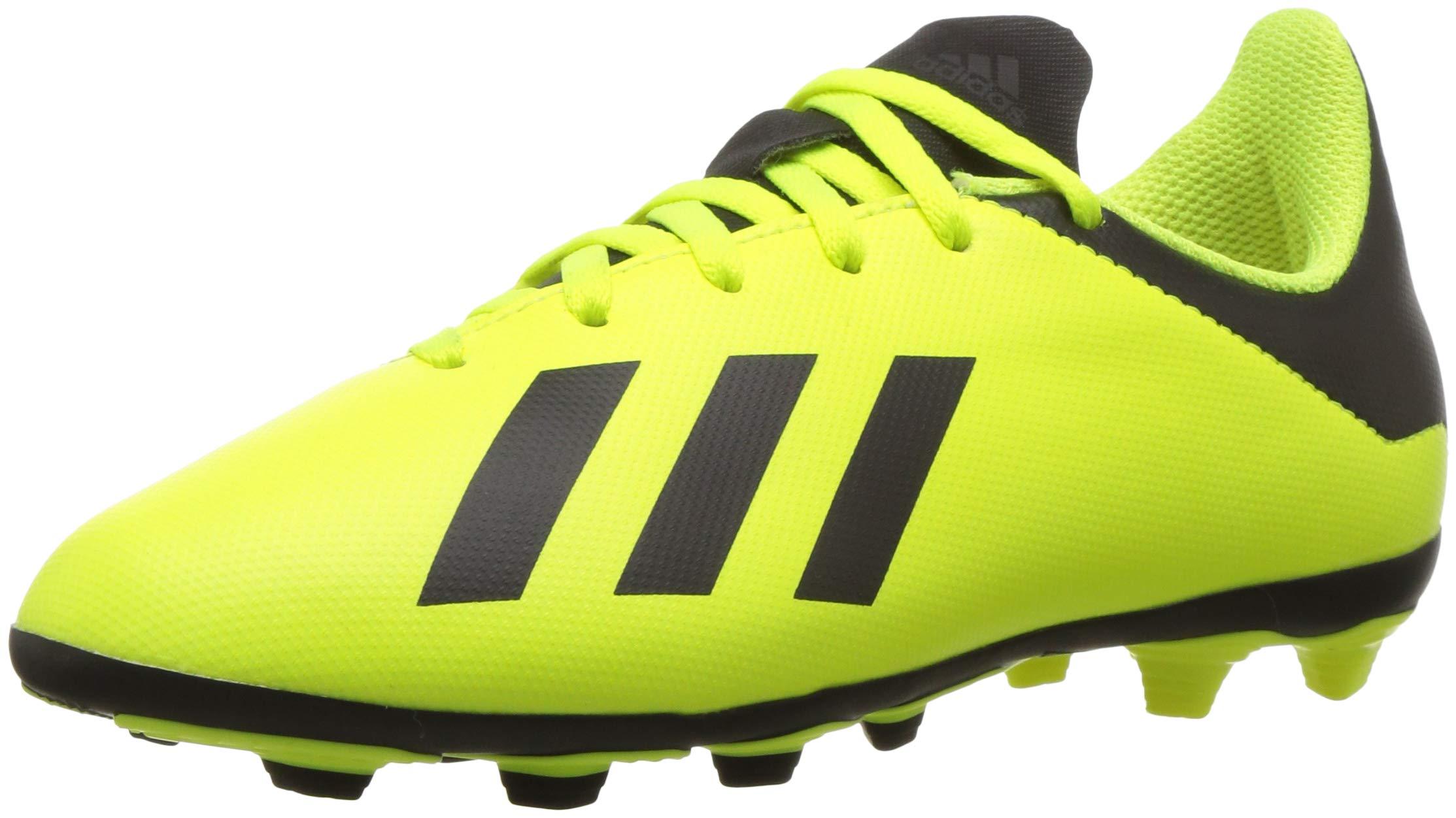 adidas Unisex X 18.4 Firm Ground Soccer Shoe, Black/Solar Yellow, 2 M US Little Kid