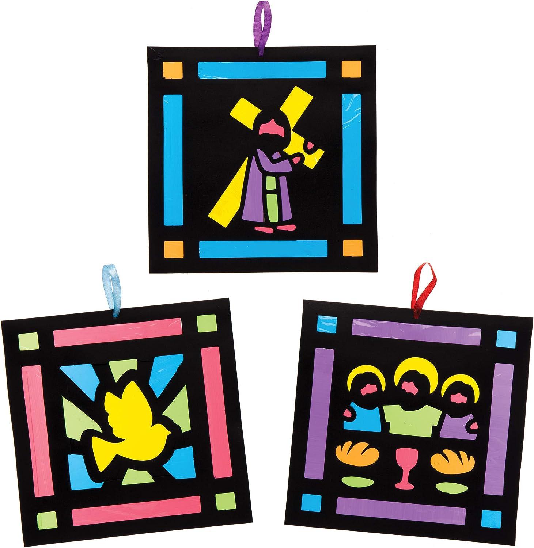 Manualidades de Pascua para ni/ños Baker Ross Kits de escenas de Semana Santa Decorativas con Efecto Cristal Tintado Paquete de 6