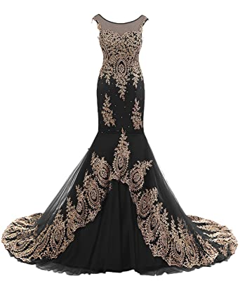 DressyMe Womens Stunning Mermaid Evening Dresses Floral Applique-6-Black