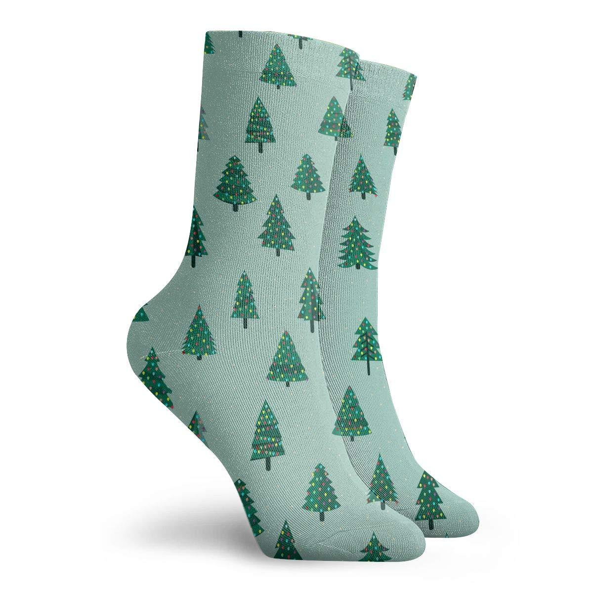 Colorful Green Christmas Tree Fashion Dress Socks Short Socks Leisure Travel 11.8 Inch