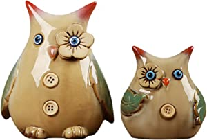 Owl Figurine Statue Decor. for Home, Living Room, Bedroom Office. Great Owl Lovers Gift Idea – Set of 2, by Blue Lotus Decor