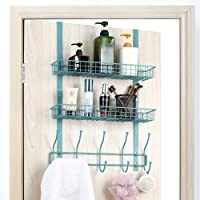 Neala Over The Door Hook 5 Double-Row Hooks & 2 Baskets Metal Shelf Hanger Door Hook 2 Tier Storage Rack for Coats…