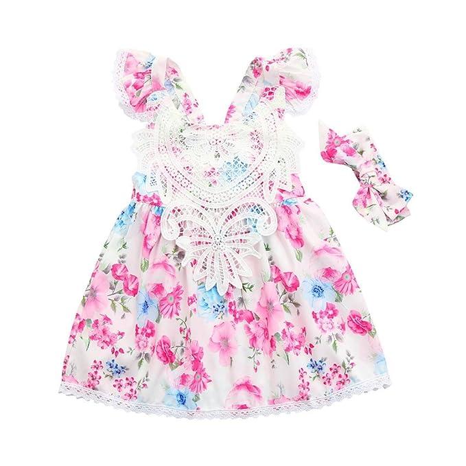 vestidos de niña, ASHOP Vestido sin espalda de encaje estampado ...