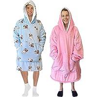 Reversible Blanket Hoodie | Thick Fleece & Silky Sherpa | Elastic Cuffs to Keep Warm in | Oversized Hoodie Fits…