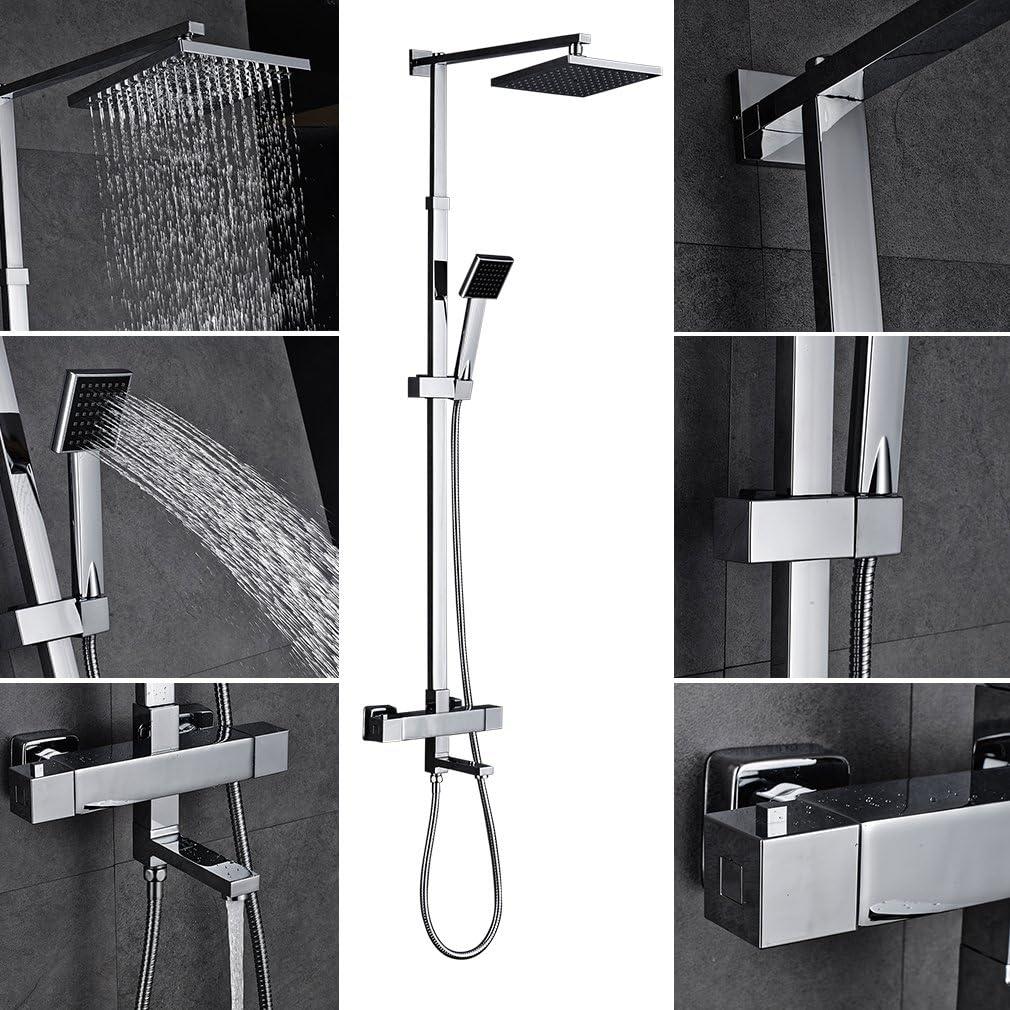 Auralum® Set de ducha cuadrado con grifo termostático KP810 ...