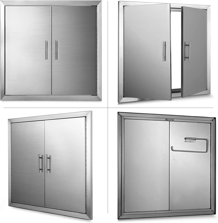 VEVOR 78x78 cm Kamint/ür Doppelschicht Putzt/ür Edelstahl 304 Inspection Door BBQ T/ür