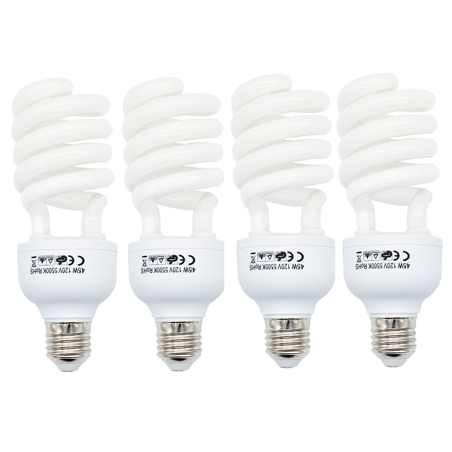 Foto&Tech 45 Watt Daylight Fluorescent photography Spiral Light Bulb 5500K 110V White for Photography and Video Studio Lighting (4 Pack)