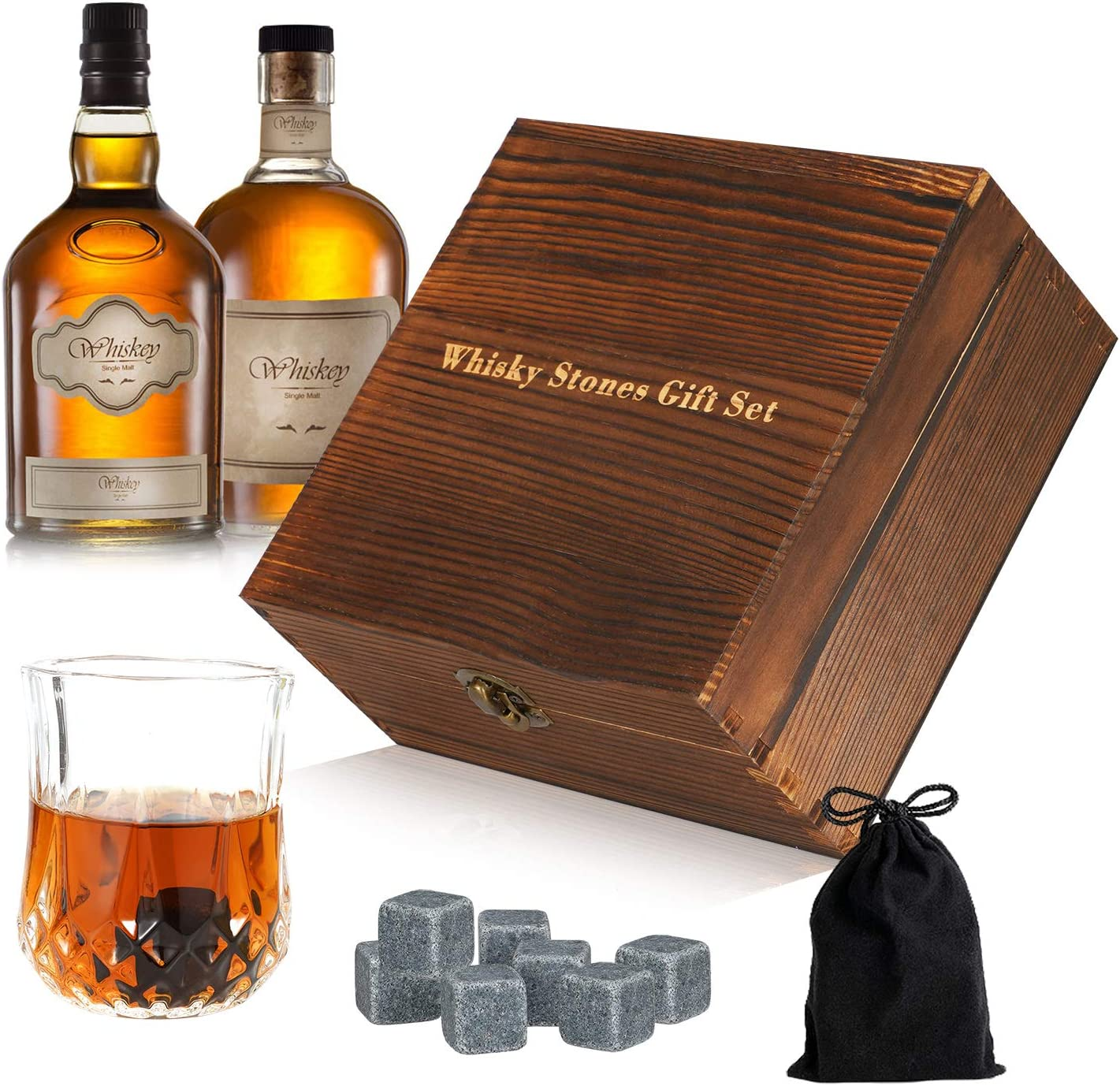 Widousy Stones Gift Set - Heavy Base Glasses For Scotch Bourbon Drinker- Whisky Rocks Chilling Stones in Wooden Gift Box - Burbon Gift Set for Men - Ideal for Birthday, Anniversary, Fathers Day