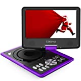 """COOAU Portable DVD Player 11.5"""" with Game Joystick, Swivel HD Screen, Support Multi-Format, Region Free, Long Lasting Battery, Support AV-in/AV-Out/SD/USB, Purple"""