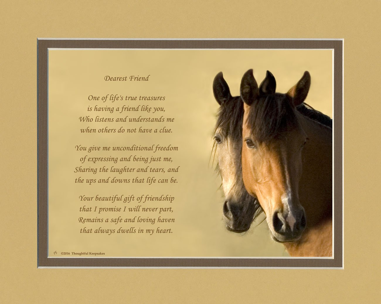 Friend Gifts. Horses Photo with Gift of Friendship Poem: 8x10 Double Matted. Special Birthday or for Friend. Great Unique Best