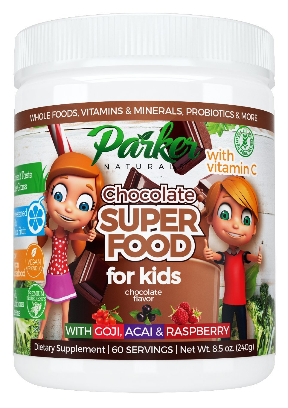 Berry Green Chocolate Superfood Powder 60 Servings for Kids with Organic Greens & Fruits, Enzymes, Probiotics, Antioxidants, Vitamins, Minerals, Vitamin C - Non GMO, Vegan & Gluten Free