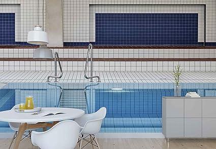 Papel tapiz fotomural piscina sportiva sala piastrelle acqua