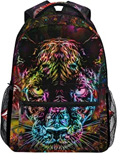 ALAZA Panther Tiger Leopard Animal Print Galaxy Colorful Large Backpack Personalized Laptop iPad Tablet Travel School Bag with Multiple Pockets for Men Women College