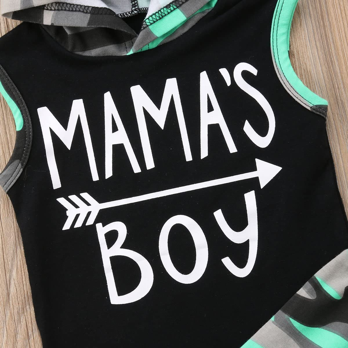 Frecoccialo Neugeborenes Baby Jungen Kleidung Set Camouflage /Ärmellos Mamas Boy Hoodie Shirt Weste Shirt Sweatshirt Shorts Hose Outfit Set Babykleidung