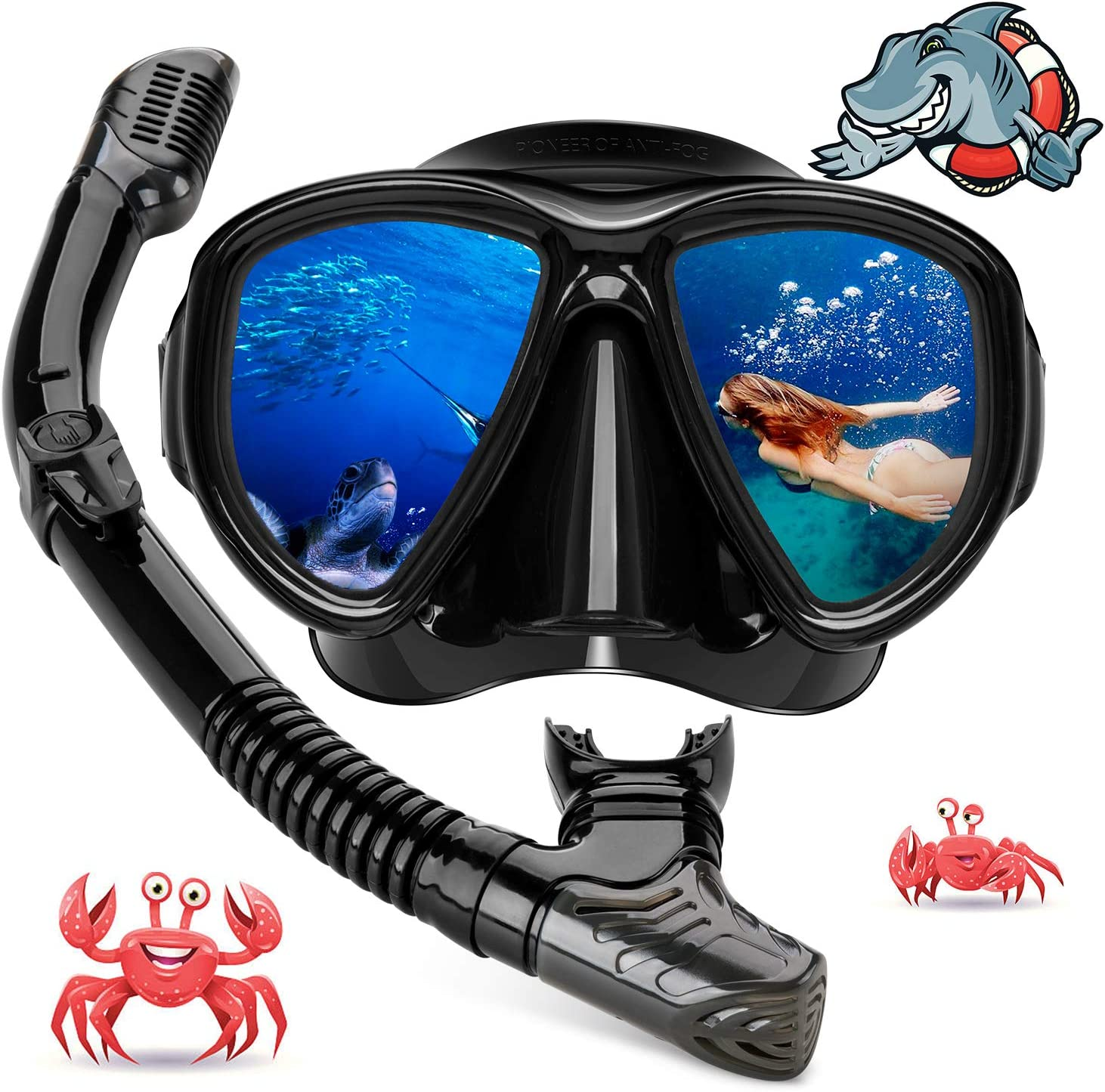 Hiearcool Diving Mask, Diving Goggles Snorkel Set for Adults and Youth,Panoramic View Anti-Fog Lens Anti-Leak Dry Top Snorkel Gear Goggle for Swimming Snorkeling Mask and Scuba Diving Mask