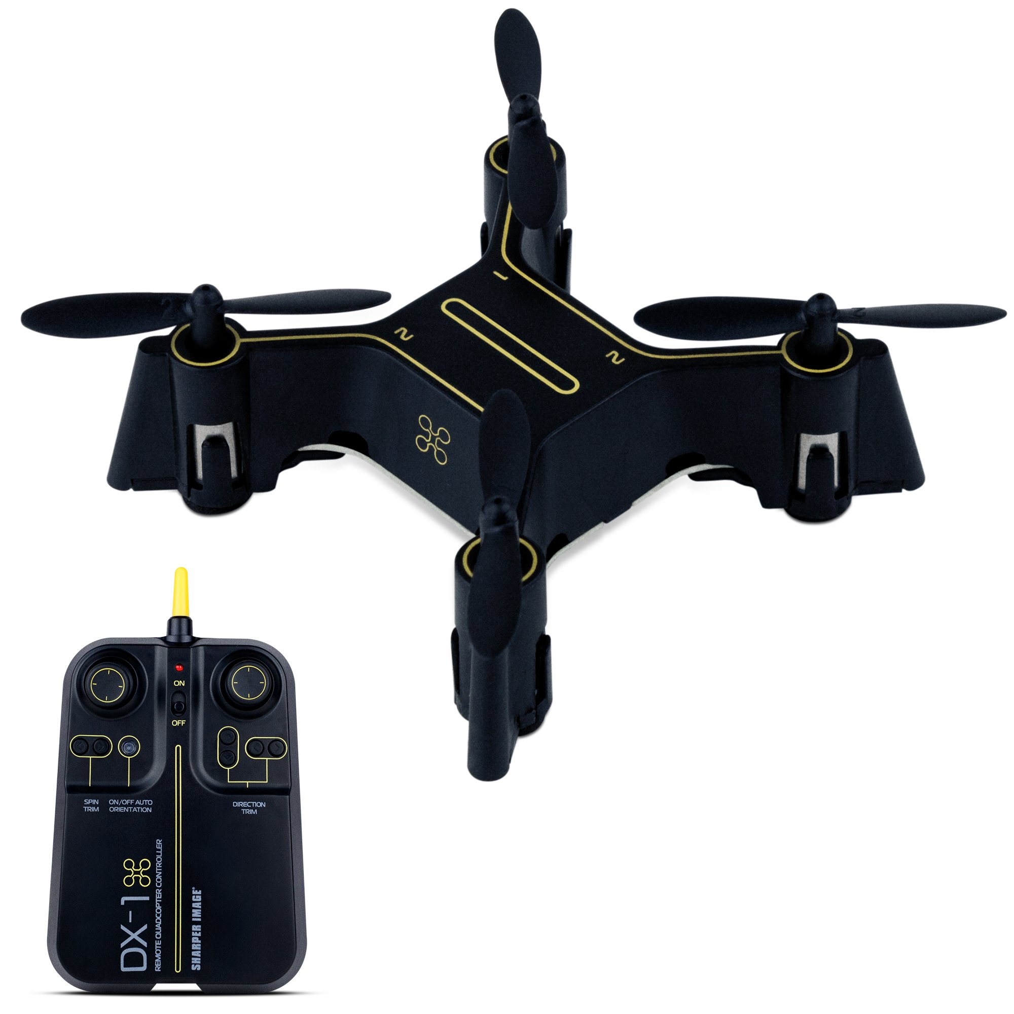 SHARPER IMAGE Micro RC Quadcopter Stunt Drone, 2.4GHz Transmitter, 6 Axis Gyroscope Technology, Rechargeable Battery, Great Choice for Drone Training (Black/Yellow)