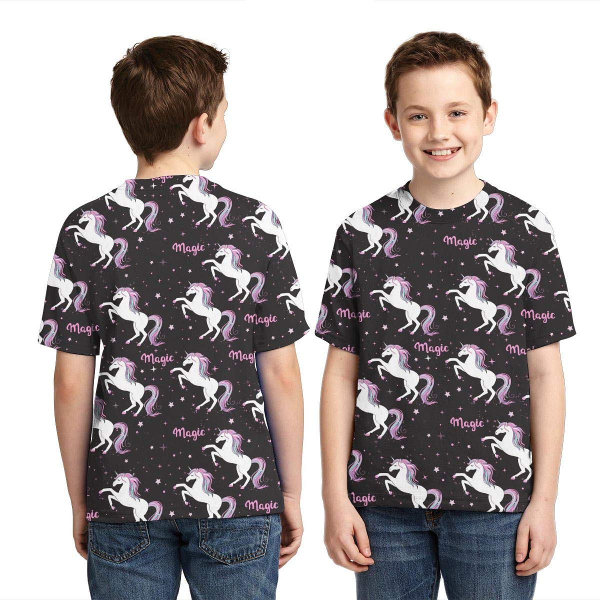 Unicorn and The Inscription Magic Kids Print Graphic Tee Short Sleeve T-Shirt
