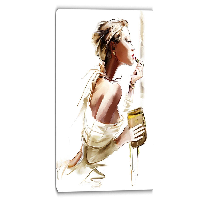 16x32 Brown Designart PT6659-16-32 Design Art Fashion Woman-Portrait Digital Canvas Art Print-16x32