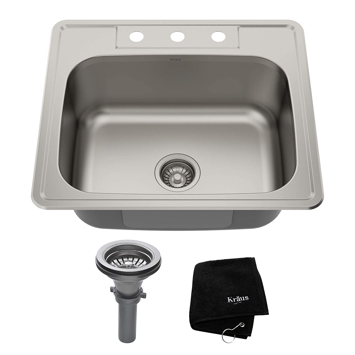 Kraus KTM25 25 inch Topmount Single Bowl 18 gauge Stainless Steel Kitchen Sink