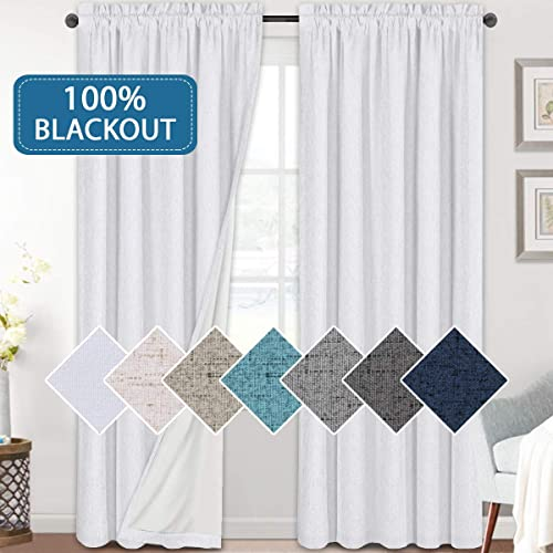 H.VERSAILTEX Linen Look 100 Blackout White Curtains 95 Inches Long Review